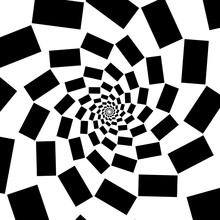 Spiral Of Black Squares On Whi...