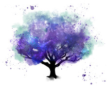 Space Tree Watercolor