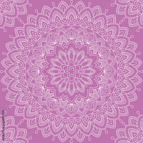 Seamless pattern with mandala ornament. Hand drawn vector illustration