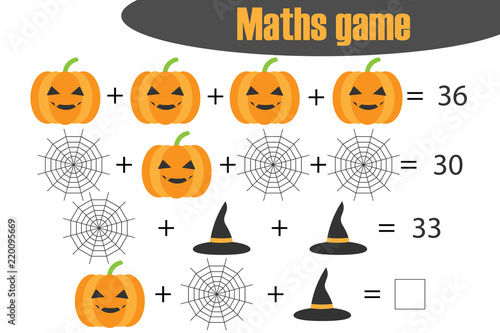 Photo Maths game with pictures (halloween theme) for children, middle level, education