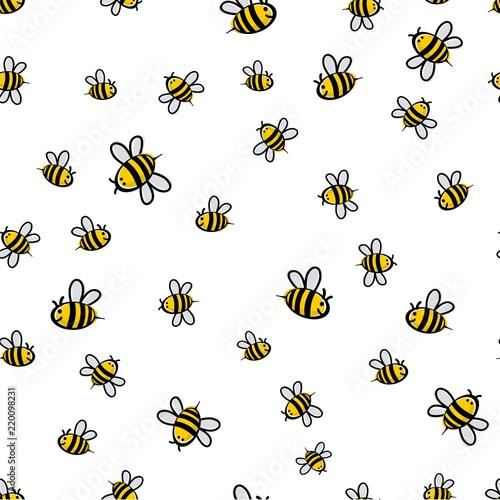Obraz na płótnie Cute seamless bee pattern vector