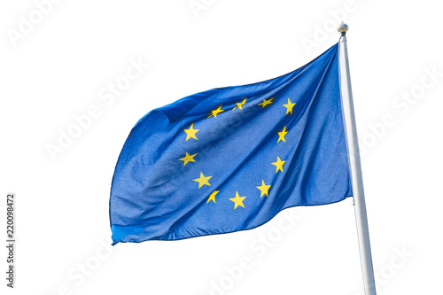 Obraz Waving European Union flag isolated on white background. - fototapety do salonu