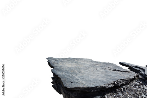 Stampa su Tela Cliff stone located part of the mountain rock isolated on white background