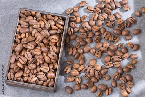 Fotografie, Obraz  Colombian roasted coffee - Coffea. Top view