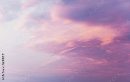 Photo Stands Candy pink Pink clouds on blue sunset sky