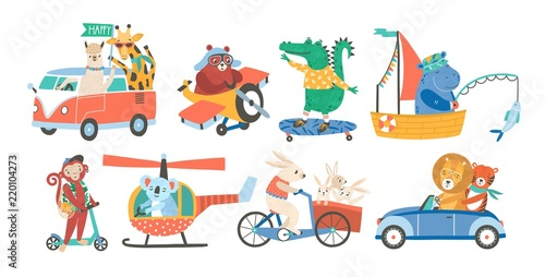 Staande foto Cartoon cars Set of funny adorable animals in various types of transport - driving car, fishing in sailboat, riding bicycle, skateboarding, flying on plane or helicopter. Colorful childish vector illustration.
