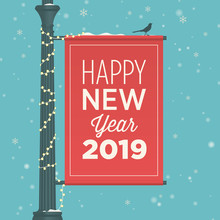 Happy New Year 2019 Card. Stre...