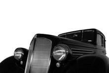 Vintage, Black, Shiny Car On White Background.