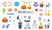 Set Of Cute Halloween Illustration Elements. Flat Design Style. Perfect For Making Your Own Original Projects. Vector.
