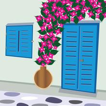 Traditional Greek Door And Win...