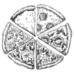 Panel Szklany Do pizzerii hand drawn illustration of pizza. six pieces
