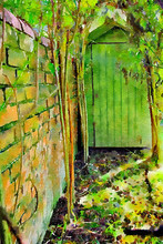 Watercolour Painting Of Garden Nook In Front Of A Green Shed, Under Archway Of Willow With Old Brick Wall. Secret Gardeners Area,