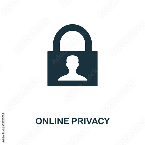 Online Privacy icon  Monochrome style design from internet security