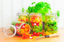 Watercolour Still Life Painting Of Prepared Salad In Glass Storage Jars.