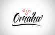 omaha city design typography with red heart icon logo