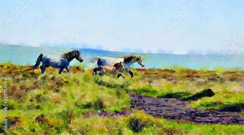 Canvas Print Watercolour landscape painting of wild ponies on the moors with a foal