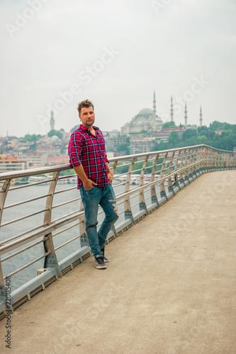Fotobehang Antarctica Man bridge Turkey Istanbull