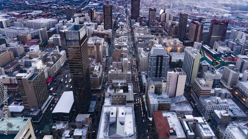 Urban city aerial shoot of  Johannesburg landscape, South Africa