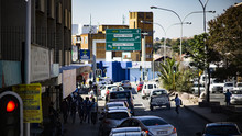 Urban City View With Cars, Street, People, Johannesburg, South Africa