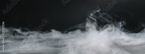 Photo Stands Smoke Realistic dry ice smoke clouds fog overlay. copyspace for your individual text.