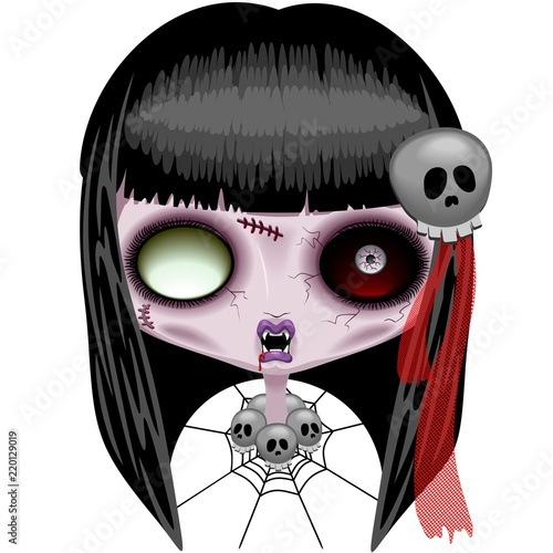 Spoed Foto op Canvas Draw Doll Zombie Creepy Halloween Monster