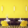 canvas print picture - cafe interior design about complementary color concept,3d rendering,3d illustration