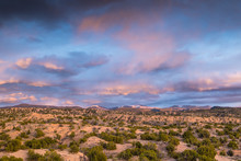 Dramatic Colorful Clouds At Sunset Over The Sangre De Cristo Mountains And Desert Near Santa Fe, New Mexico