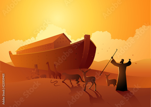 Fotografiet Noah and the ark before great flood
