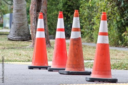 Fotografie, Obraz  Orange traffic cones blocking street