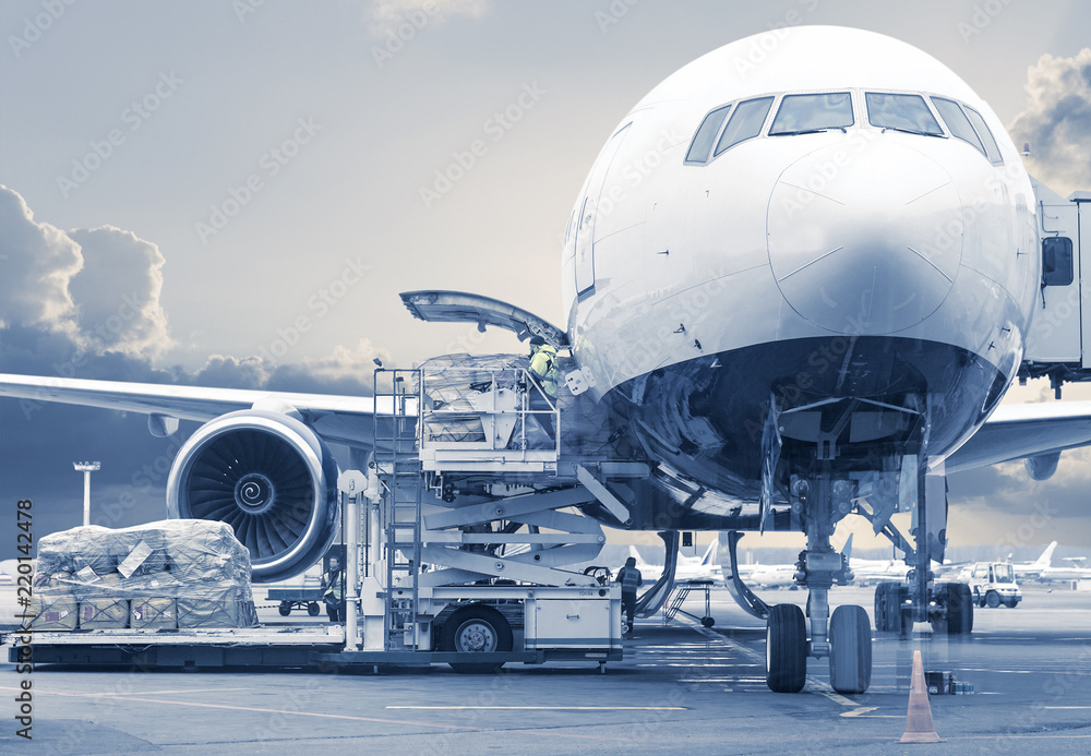 Fototapety, obrazy: loading cargo picture in a blue toning