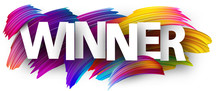 Winner Paper Poster With Colorful Brush Strokes.