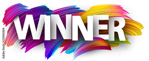 Canvas Winner paper poster with colorful brush strokes.