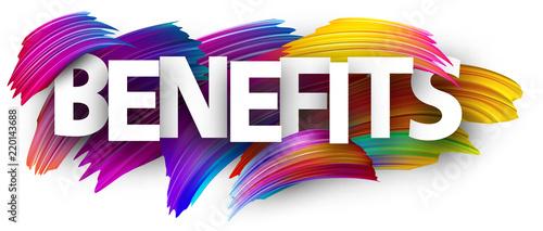 Fototapeta Benefits poster sign with colorful brush strokes. obraz
