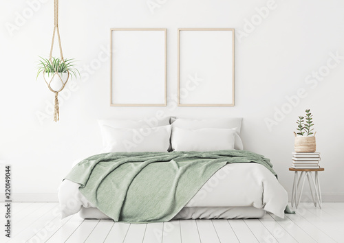 Poster Mockup With Two Vertical Frames On Empty White Wall In