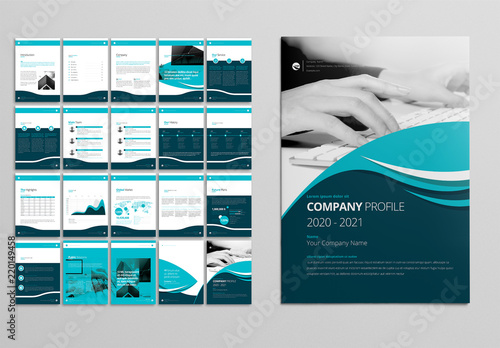 Company Profile Layout With Teal And Blue Accents