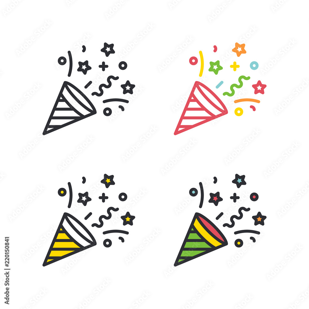 Fototapeta Party cracker flat simple line icons set.
