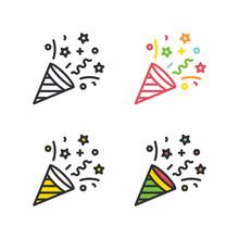 Party Cracker Flat Simple Line...