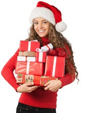 Young Woman In Santa Hat Holding Presents - Isolated