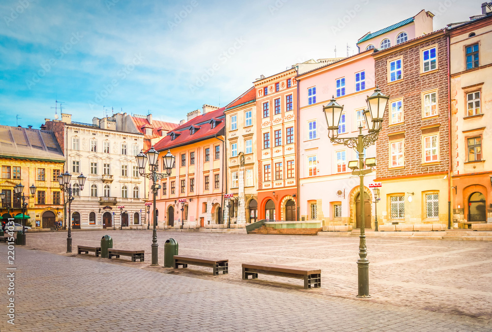 Fototapety, obrazy: old town square Maly Rynek in old town of Krakow, Poland, retro toned