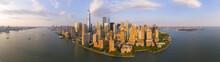 New York City NYC Manhattan Downtown Skyline And One World Trade Center Building Panorama, New York City, USA.