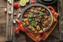 Thai Beef Massaman Curry, Dark Background Copy Space