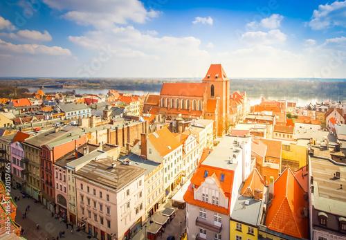 Foto op Plexiglas Historisch geb. streets of old town in Torun, Poland, retro toned