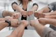 close up.hands of the business team forming a circle