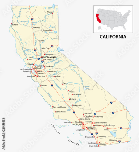 road map of the US American State of California – kaufen Sie ...