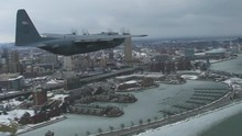 POV Shot From A KC 135 Stratotanker Flying Over Buffalo New York.