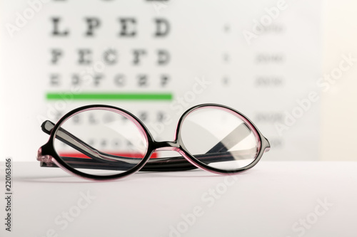 58e67f1b4c75 Glasses with corrective lenses on table against eye chart - Buy this ...