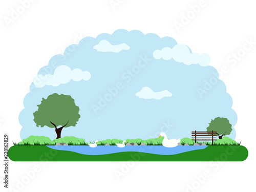 Tuinposter Lichtblauw Landscape of a park with a lake and ducks