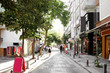 ISTANBUL, TURKEY - AUGUST 09, 2018: Beautiful view of city street with different stores