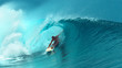 canvas print picture - CLOSE UP: Professional surfboarder finishes riding another epic tube wave.