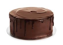 Fresh Delicious Homemade Chocolate Cake On White Background